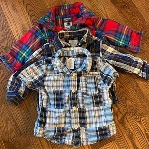 🛍3/$25 Bundle of three plaid tops in sizes 12m